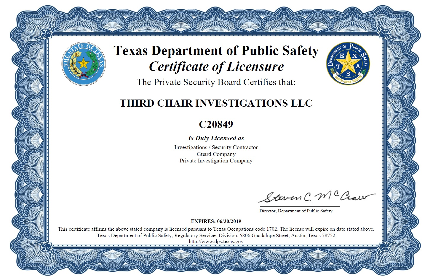 Third Chair Investigations LLC - License No C20849